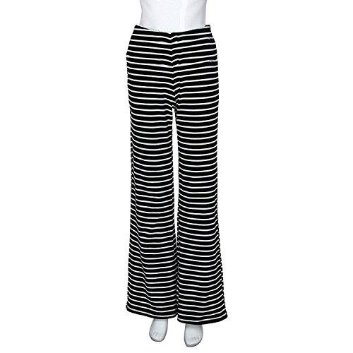 Stripe Libero Pantalone Moda Donna Larghi Pantaloni Pants Rinalay Tempo Elegante Nero Pantaloni Primaverile Lunga High Casuale Waist Pantalone Pantaloni Colpo Larghi Autunno 8vTppYwq