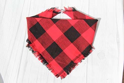 Amazon com: Red and Black Buffalo Plaid Dog Bandana: Handmade