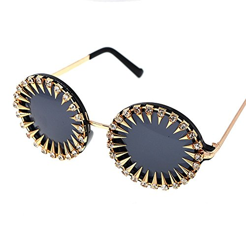 Diamante Gafas De Resina Elegantes De Sol Las Señoras Perno Circulares De Gafas De Sol Manera Sol De De De Vidrios La del del Moda Grano Gafas La del JUNHONGZHANG Za0Aqw