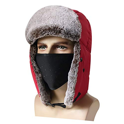Longay 2PCS Unisex Winter Waterproof Windproof Earmuffs Ski Cap Breathable Mask+Cap Set ()