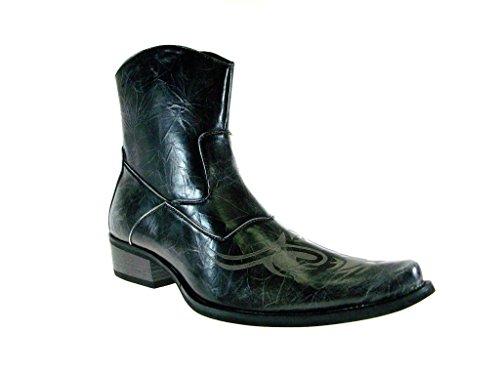 BB&W Mens M1763 Westren Style Tribal Design Calf High Boots Gray fhInInWS