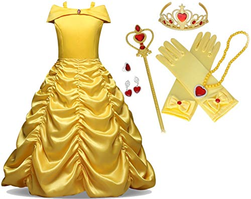 Belle And The Beast Halloween Costumes (Beauty and The Beast Gown Princess Belle Costume Halloween Party Cosplay Girls 7 PC Dress Set, Size 3T)
