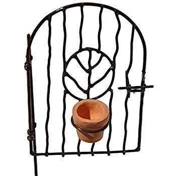 Miniature Fairy Garden Vine Gate with Pot - Swinging Gate Pick - 4.75 Inches Tall