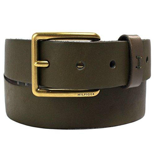 Olive Genuine Belt (Tommy Hilfiger Men's 35mm Leather Belt with Brass Buckle, Olive Green)