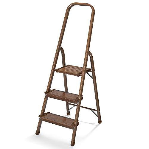 (Polder Walnut Wood Grain 3-Step Aluminum Ladder)