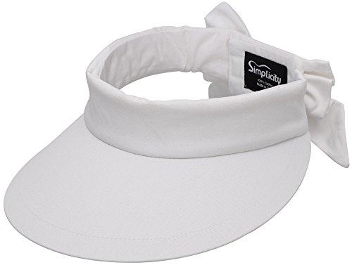 (Simplicity Women's SPF 50+ UV Protection Wide Brim Beach Sun Visor Hat,White)