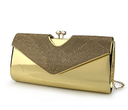 - Women's Evening Clutch Bag For Wedding Party Metallica Shining Rhinestone Envelope Purse with Chain Strap (Gold)