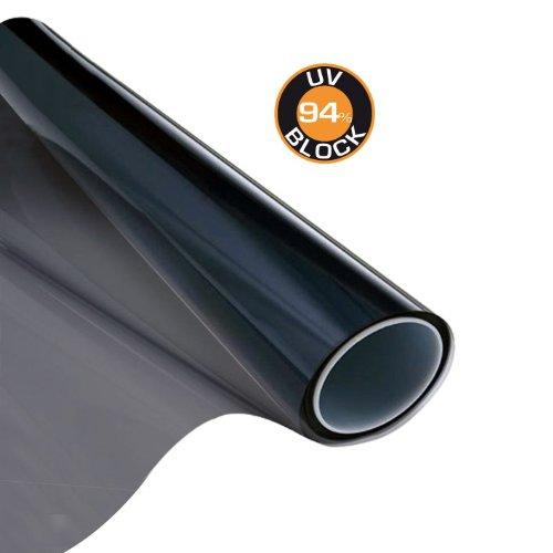 Carboni 111801 Film Solaire Noir 50x300cm pour vitres laté rale Auto Caravane Bateau Maisons Bloque 94% UV 1120001