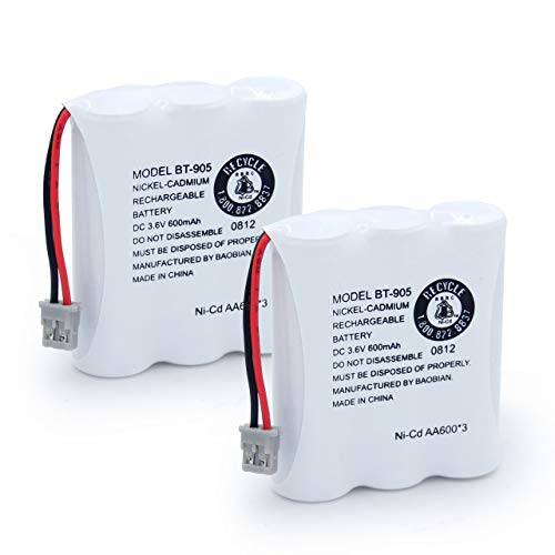 BAOBIAN BT-905 Rechargeable Cordless Handset Phone Battery Compatible with for BT905 BT-800 BBTY0663001 BT-1006 BBTY-0444001 BP-800 BP-905 3.6v 600mAh Ni-CD(Pack of 2)