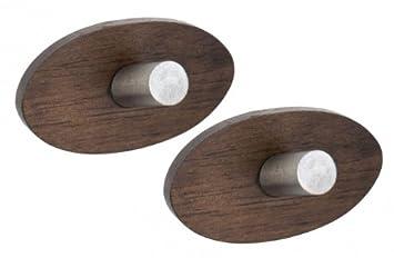 Wenko Belingo - Conjunto de 2 ganchos - Sin agujeros - madera/acero inoxidable - gancho para toallas - perchero - colgador - gancho de pared: Amazon.es: ...