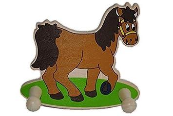 Unbekannt Garderobe Kinder 2 Kleiderhaken Tiere Pferd Holz