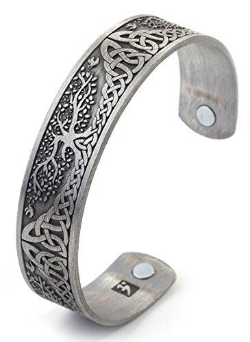 Vintage Tree of Life Irish Knot Totem Health Care Magnet Bangle Cuff Bracelet (Antique Silver)