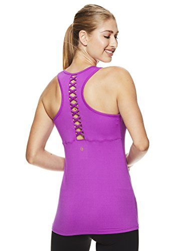 Gaiam Women's Heather Mix Racerback Yoga Tank Top w/Built-in Medium Impact Wireless Sports Bra - Purple Cactus Flower, Small by Gaiam