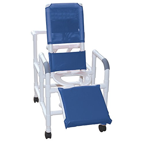- MJM International 193 Reclining Shower Chair with Elevated Leg Extension, 325 oz Capacity, Royal Blue/Forest Green/Mauve