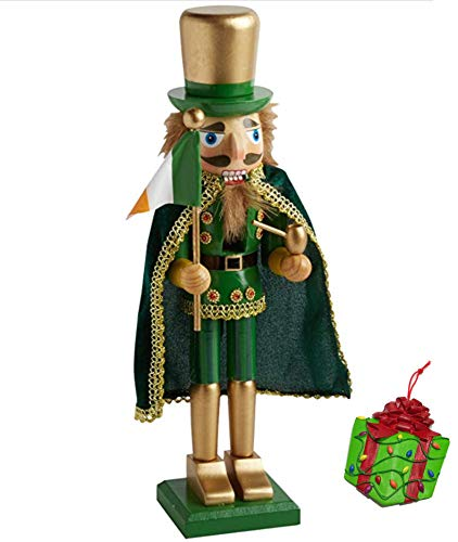 Distinctive Designs Irish King Large Unique Themed Decorative Holiday Wooden Christmas Nutcracker (Flag) & Bonus Tree Ornament
