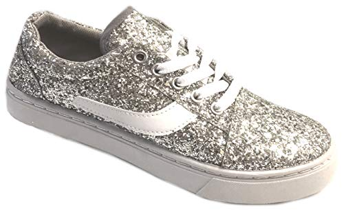 (Shoes 18 Womens Canvas Shoes Lace up Sneakers 324 Silver Glitter 9)
