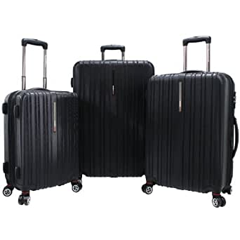 Traveler's Choice Tasmania 100% Polycarbonate Expandable 8-Wheel Spinner 3-Piece Luggage Set with Diamond Cut Texture Finish - Black ( 21-Inch , 25-Inch And 29-Inch )