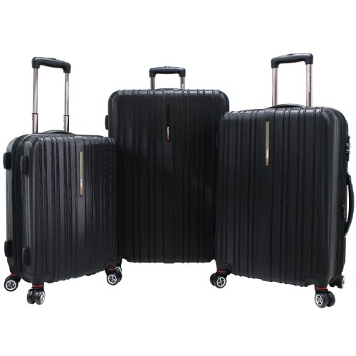 Traveler's Choice Tasmania Polycarbonate Expandable 8-Wheel Spinner 3-Piece Luggage Set, Black (21''/25''/29'') by Traveler's Choice