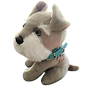 """""""Rouzer The Schnauzer"""" Stuffed Plush Animal With Real Collar. Collar Comes With An Adorable Blinged Out Schnauzer Charm."""