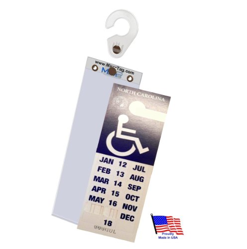 MirorTag Gold Plus by JL Safety -holds NC & NJ handicap long parking placard. Easily Display & Put Away parking Tag. Hard plastic. Magnetically snaps On & Off to a Hook behind your mirror. Made in USA