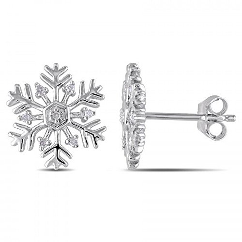 Ladies Designer Style Snowflake Stud Earrings with Diamonds set in Sterling Silver with 0.06cw.