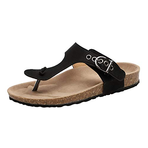 (SMALLE_Shoes T-Strap Thong Sandals Women,SMALLE◕‿◕ Women Buckle Slip On Flip-Flops Beach Casual Platform Footbed Slippers Black)