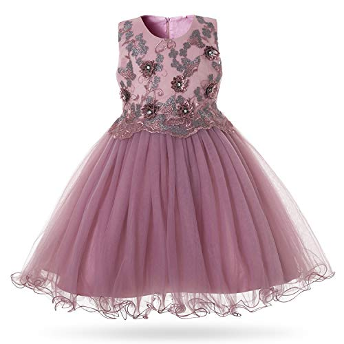 CIELARKO Girls Dress Party Wedding Princess Flower Dresses Purple
