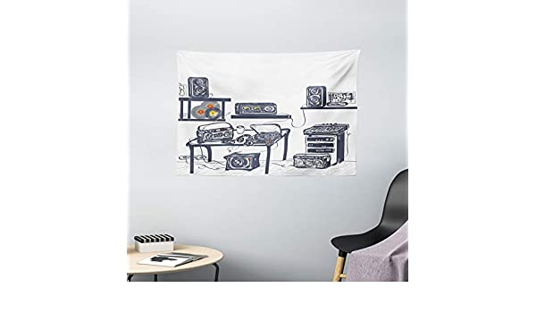 Moderno Tapizado por Ambesonne, estudio de grabación con ...