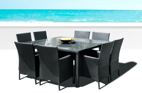 Outdoor Patio Wicker Furniture New Resin 9-Piece Square Dining Table & Chairs Set