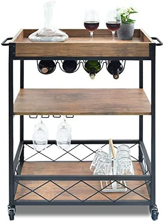 CHARAVECTOR Kitchen cart with 3 – Tier Shelves, Practical Industrial Kitchen Bar Serving Cart, Glass Bottle Holder Handle Racks, Rolling Kitchen Cart Removable Top Box Container, Brown