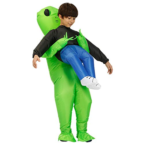 AOGU Inflatable Alien Costume Halloween Costume for Adults Or Child Inflatable Costumes Grim Reaper Ghost Pick Me Up Cosplay (Child Alien)]()