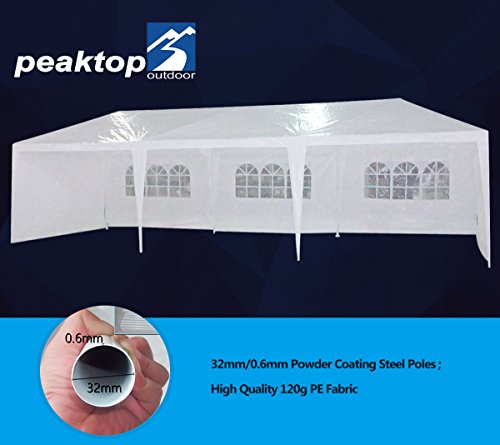 Peaktop 10'x30' Outdoor Party Wedding Tent Canopy Gazebo Carport Storage Shelter Pavilion Multiple Choices (White N, 10X30) (Pavilion Outdoor)