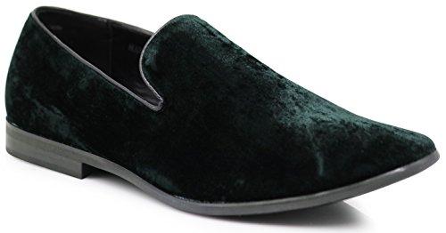 SPK03 Men's Vintage Plain Velvet Dress Loafers Slip On Shoes Classic Tuxedo Dress Shoes (6.5 D(M) US, Green) ()
