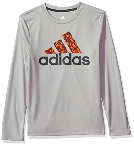 adidas Boys Big Basic Long Sleeve Tee Shirt, Grey Two, M (10/12)
