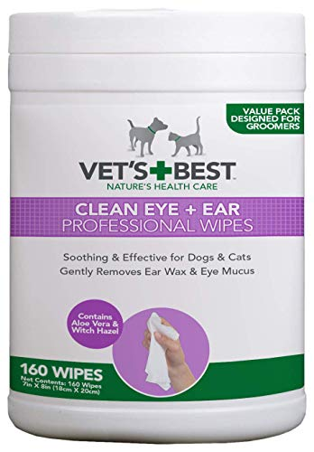 Vet's Best Clean Eye and Ear Professional Wipes for Dogs and Cats, Pack of 160
