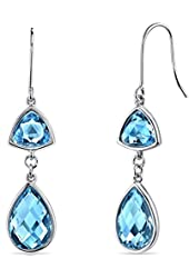 14 Karat White Gold 2 Stone Design 10.50 Carats Swiss Blue Topaz Dangle Earrings