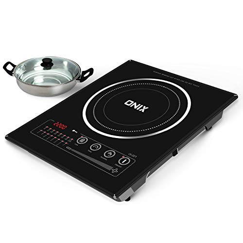ONIX enthusing generations OI-221 Touch Control Induction Cooktop with Stainless Steel Pot and Glass Lid (2200 Watts, Black)