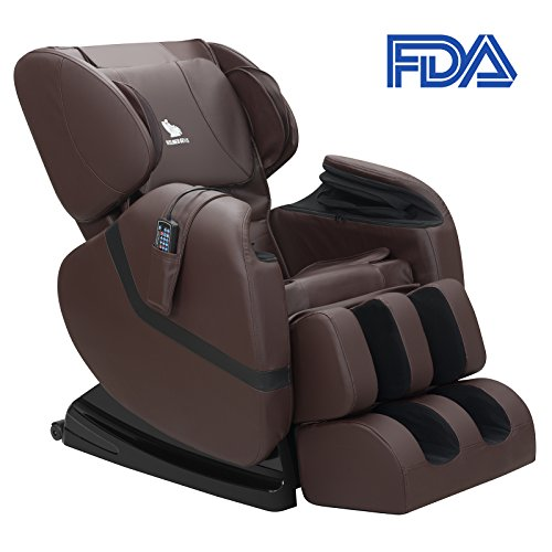 Mecor Full Body Massage Chair Zero Gravity Shiatsu Heated Massager Recliner with Stretched Foot Rest,Airbag/Rolling Massage System,Brown (Chair Massage Heated)