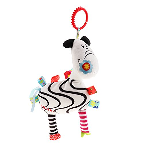 Dolity Baby Activity Hanging Plush Toy for Pushchair Pram Stroller Car Seat Cot Bed - Zebra with flowers