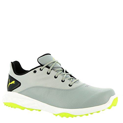 PUMA Golf Men's Grip Fusion Golf Shoe, Quarry/Acid Lime/Black, 12 Medium US