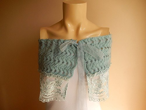 Sage Green Bridal Capelet/ Wedding Wrap Shrug Bolero/hand Crochet with French Lace