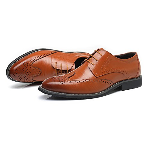 Oxford in Color amp;Baby Orange da uomo Up brogue all'abrasione Resistente pelle Dimensione EU Hollow Blue foderato Low Sunny 42 vera traspirante Lace Top Wingtip Carving Scarpe Business qUwtFnd1