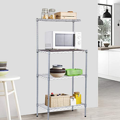 4-Tier Bakers Rack Microwave Stand Storage Rack, Adjustable Kitchen Bakers Rack Stainless Steel Microwave Oven Stand Household Storage Cart Workstation Shelf (Rack)