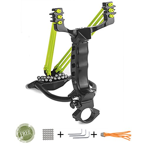 Wisdoman Outdoor Athletics Slingshot Kit, Adjustable Stainless Professional Hunting Catapult High Powerful Slingshots Rubber Bands and 50 Steel Balls (Black)