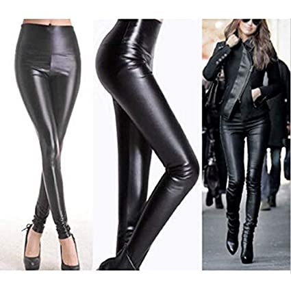 326d72f024844 Image Unavailable. Image not available for. Color: ZHQUN Sexy Womens Wet  Look Faux Leather Leggings Stretch Skinny Pants Trousers