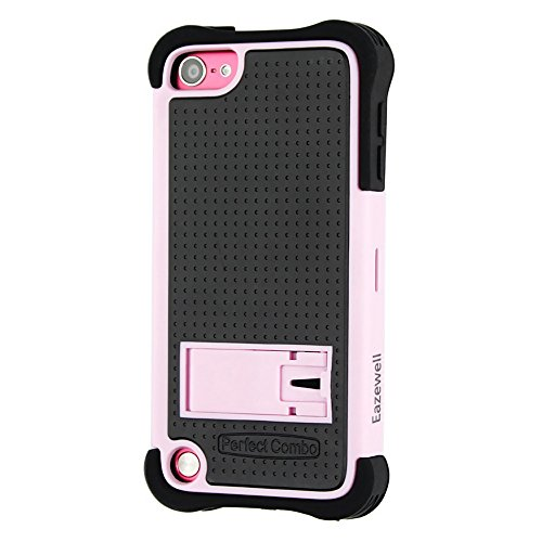 iPod Touch 6th Case, Apple iTouch 5/6 Shockproof Tough Armor Box [Heave Duty] Protective Cover Shock-Absorption Drop Impact Resistant Bumper+1 PC Tempered Glass Screen Protector Film (Pink)