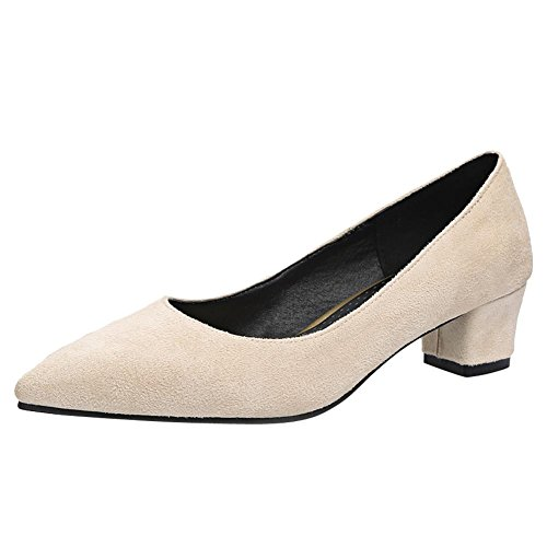 MissSaSa Damen Pointed toe Blockabsatz Pumps Beige