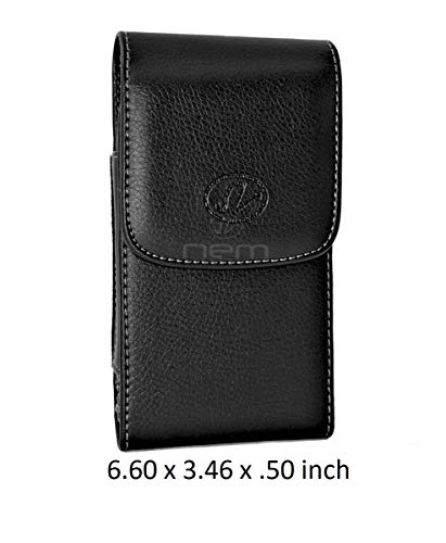 Vertical Leather Pouch Carrying Case with Swivel Belt Clip Holster for Motorola Moto e5 Plus / e5 Supra Devices - (Fits with Otterbox Defender, Commuter, LifeProof Cover On It) (Motorola Soft Case Leather Carry)