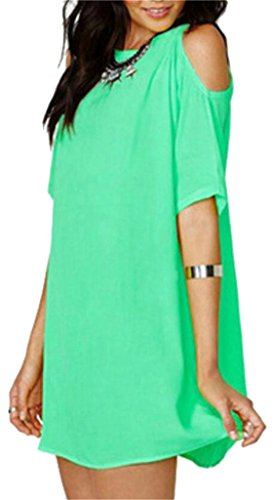 Chiffon Women's Domple Dress Casual Short Green Cold Sexy Sleeve Shoulder Mini qBRwxC6RE