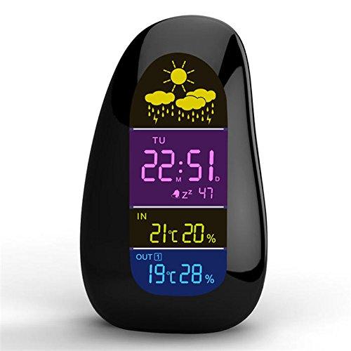 LEOTINO Wireless Weather Station Clock Pebble LED Alarm Clock Wireless Weather Report -